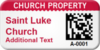 Personalized 2D Church Property Barcode Asset Tag