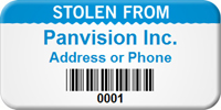 Personalized Stolen From Asset Tag with Barcode