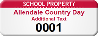 Personalized School Property Asset Tag with Numbering