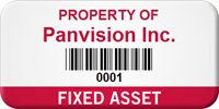 Fixed Asset Personalized Asset Label with Barcode