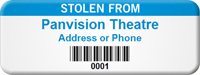 Customized Stolen From Asset Tag with Barcode