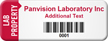 Customized Lab Property Asset Tag with Barcode