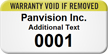 Numbered Warranty Void If Removed Custom Assset Tag