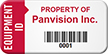 Custom Equipment ID, Property Of, Barcode Asset Tag